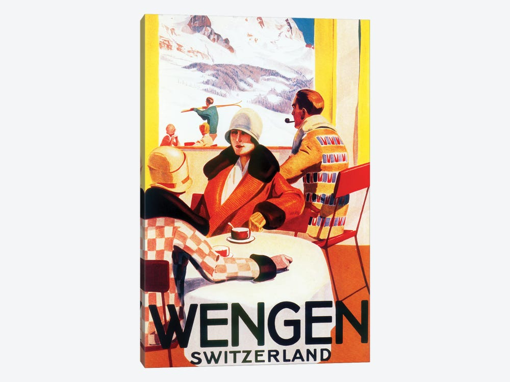 Wengen, Switzerland Skiing by Vintage Apple Collection 1-piece Canvas Print