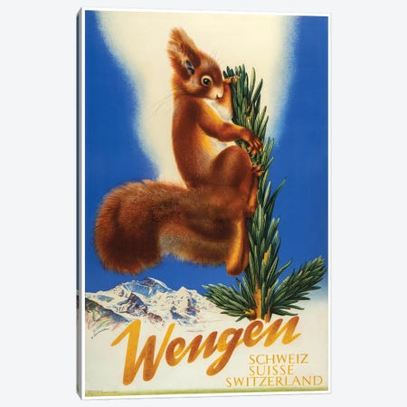 Wengen, Switzerland Squirrel Canvas Print #VAC2132} by Vintage Apple Collection Canvas Print