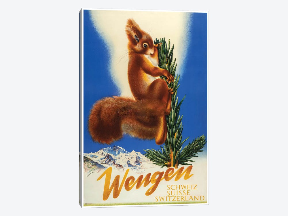 Wengen, Switzerland Squirrel by Vintage Apple Collection 1-piece Canvas Wall Art