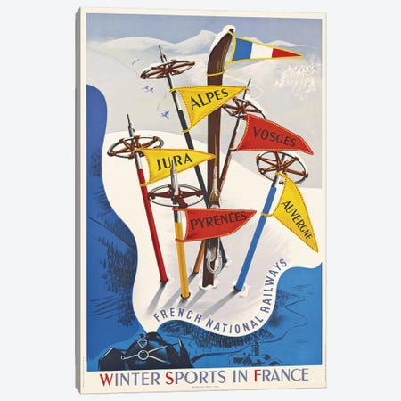 Winter Sports In France, French National Railways Canvas Print #VAC2139} by Vintage Apple Collection Canvas Print
