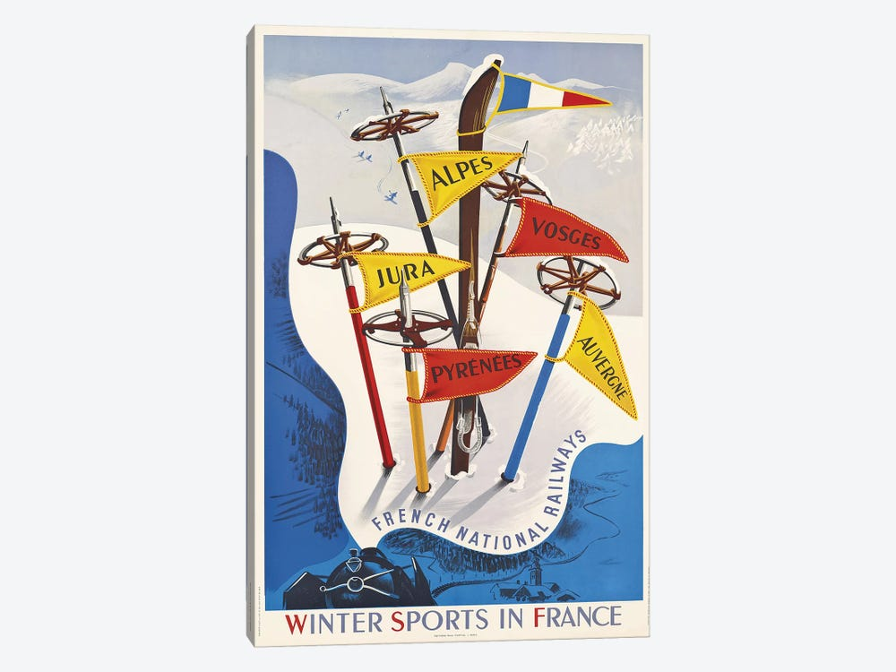 Winter Sports In France, French National Railways by Vintage Apple Collection 1-piece Canvas Art Print