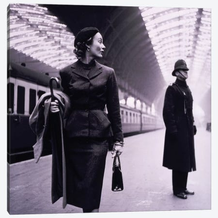 Woman In Train Station Canvas Print #VAC2143} by Vintage Apple Collection Canvas Wall Art