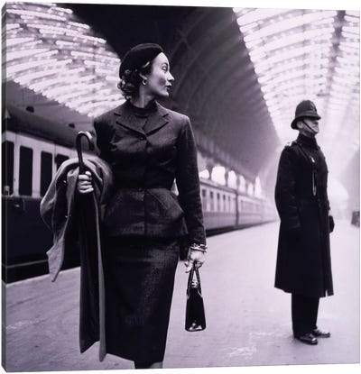Woman In Train Station Canvas Art Print