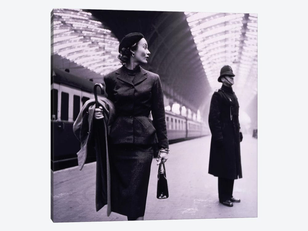 Woman In Train Station by Vintage Apple Collection 1-piece Canvas Art