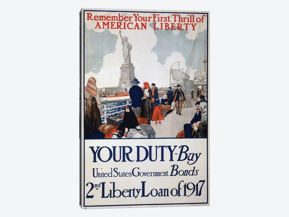 Your Duty - Buy U.S. Government Bonds, 1917 by Vintage Apple Collection 1-piece Canvas Wall Art
