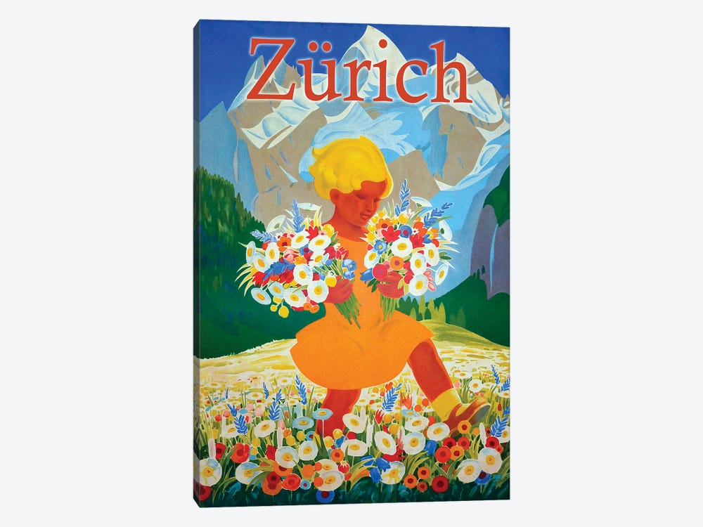 Zürich Travel by Vintage Apple Collection 1-piece Canvas Art