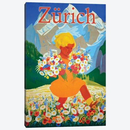 Zürich Travel Canvas Print #VAC2167} by Vintage Apple Collection Canvas Print