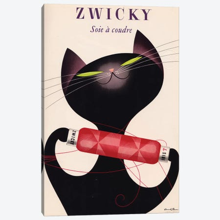 Zwicky, Black Cat Red Bottle Canvas Print #VAC2168} by Vintage Apple Collection Canvas Artwork