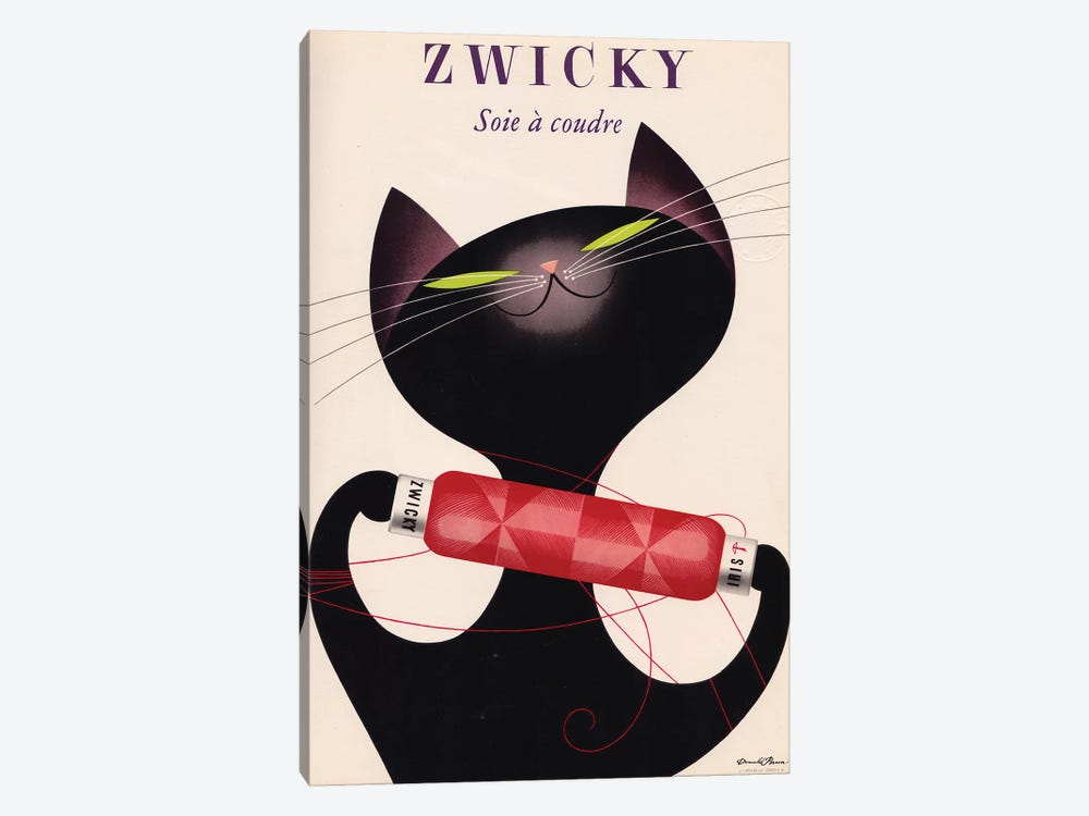 Zwicky, Black Cat Red Bottle by Vintage Apple Collection 1-piece Canvas Art Print