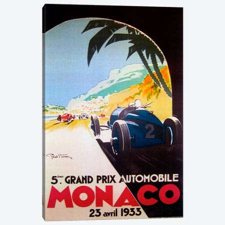 Grandprix Automobile Monaco 1933 Canvas Print #VAC238} by Vintage Apple Collection Canvas Art