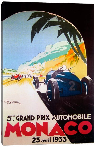 Grandprix Automobile Monaco 1933 Canvas Art Print