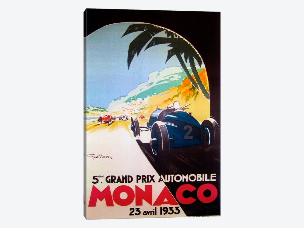 Grandprix Automobile Monaco 1933 by Vintage Apple Collection 1-piece Canvas Wall Art
