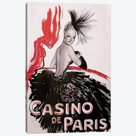 Casino de Paris Red and Black Canvas Print #VAC244} by Vintage Apple Collection Canvas Art