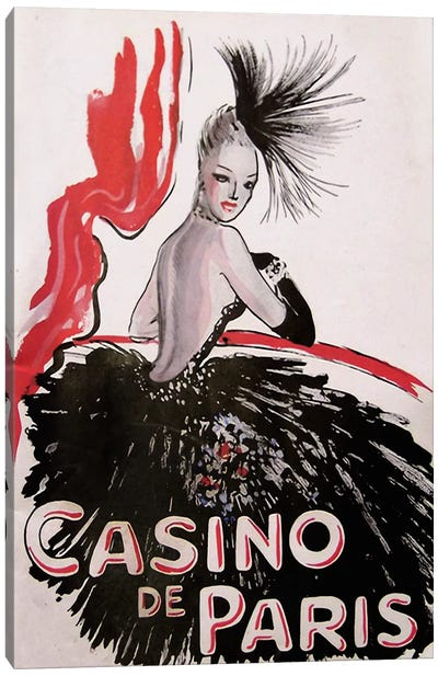 Casino de Paris Red and Black Canvas Print #VAC244