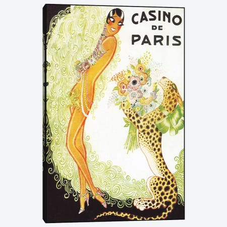 Casino de Paris, Leopard Canvas Print #VAC245} by Vintage Apple Collection Canvas Artwork