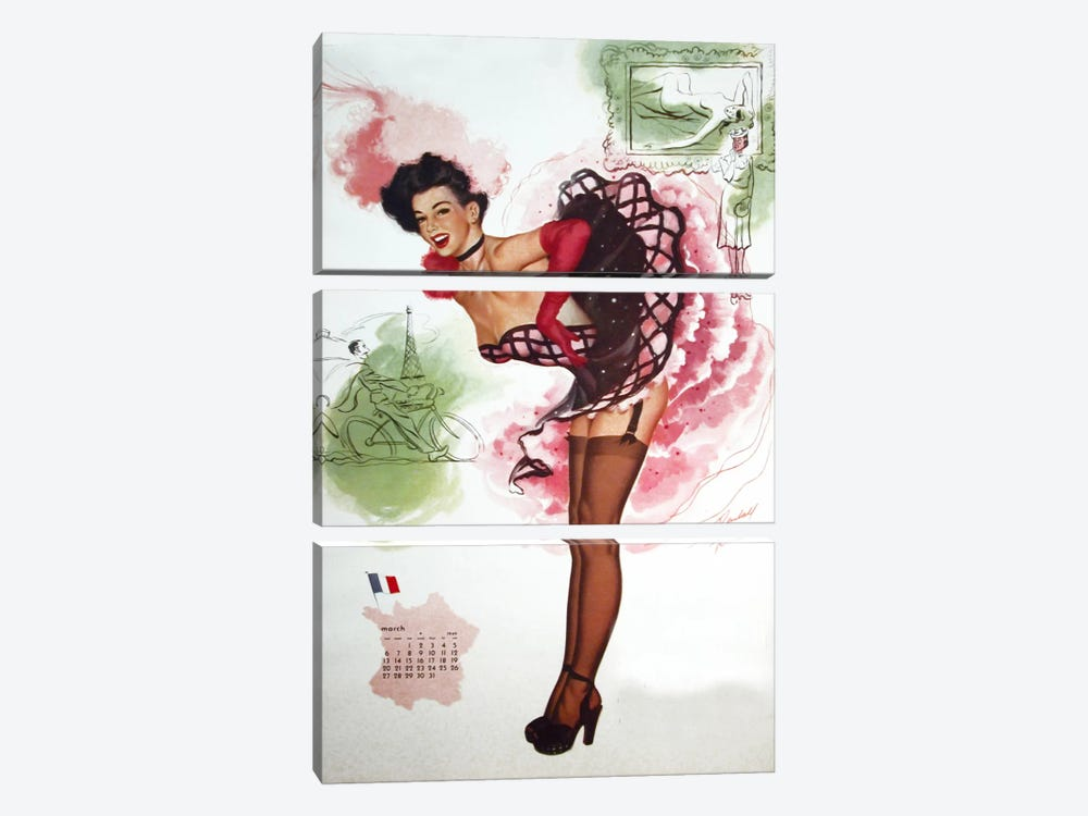 French Girl by Vintage Apple Collection 3-piece Canvas Wall Art