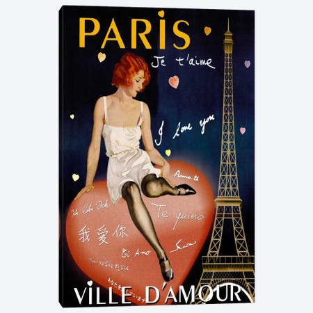 Paris I Love You Canvas Print #VAC259} by Vintage Apple Collection Canvas Art