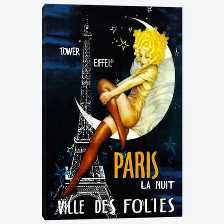 Paris Moon Canvas Print #VAC262} by Vintage Apple Collection Canvas Print