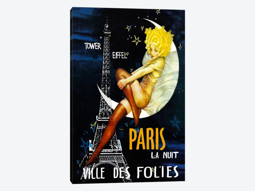 Paris Moon by Vintage Apple Collection 1-piece Art Print