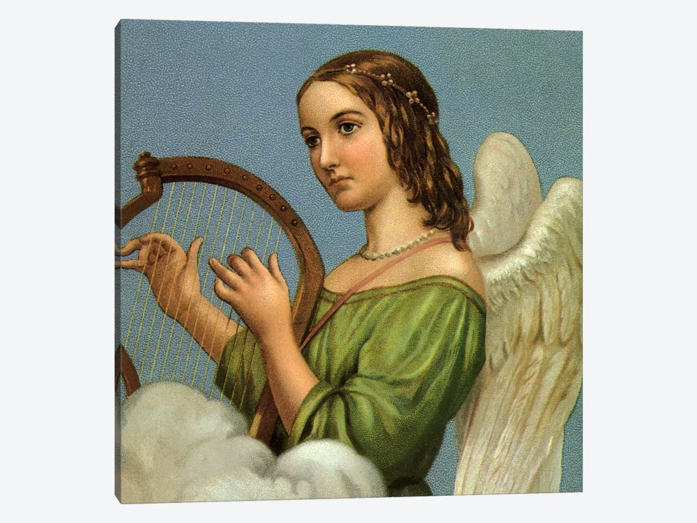 Angel With Harp by Vintage Apple Collection 1-piece Canvas Art