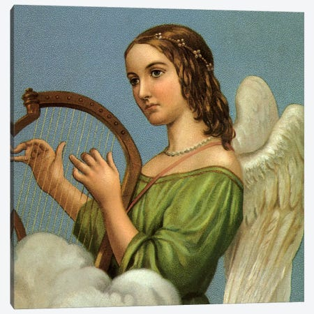Angel With Harp Canvas Print #VAC265} by Vintage Apple Collection Canvas Artwork