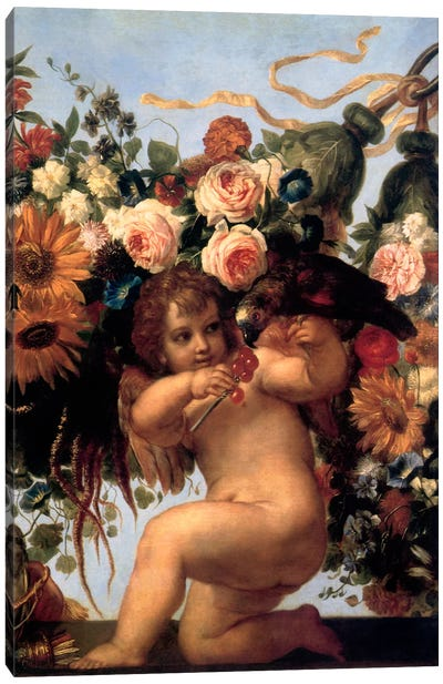 Cherub And Parrot Canvas Art Print