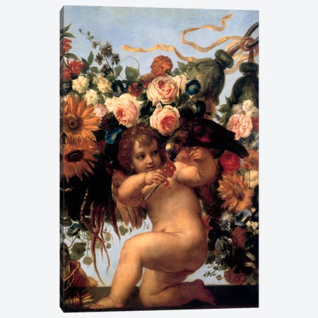Cherub And Parrot Canvas Print #VAC269} by Vintage Apple Collection Canvas Art Print