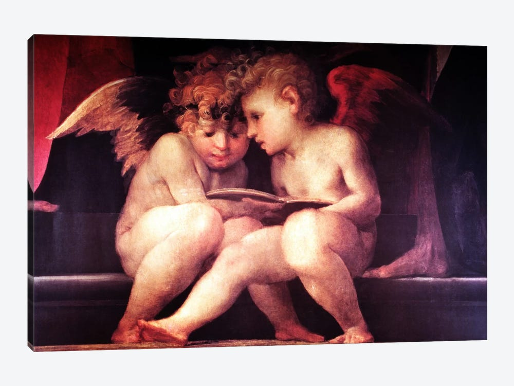 Two Redhead Cherubs by Vintage Apple Collection 1-piece Canvas Print