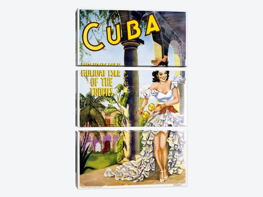 Cuba by Vintage Apple Collection 3-piece Canvas Print