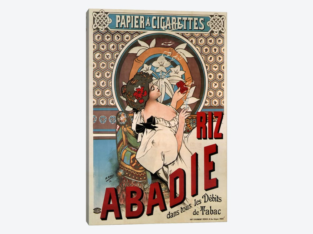 Abadie Rolling Papers Advertisement by Vintage Apple Collection 1-piece Canvas Art