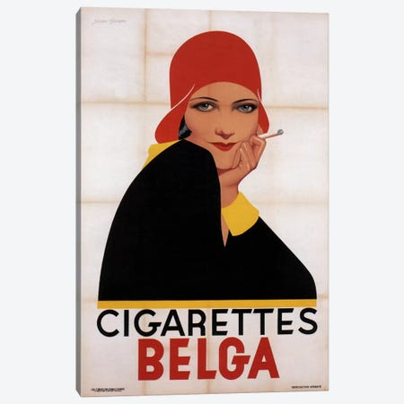 Cigarettes Belga Redhat Canvas Print #VAC423} by Vintage Apple Collection Art Print