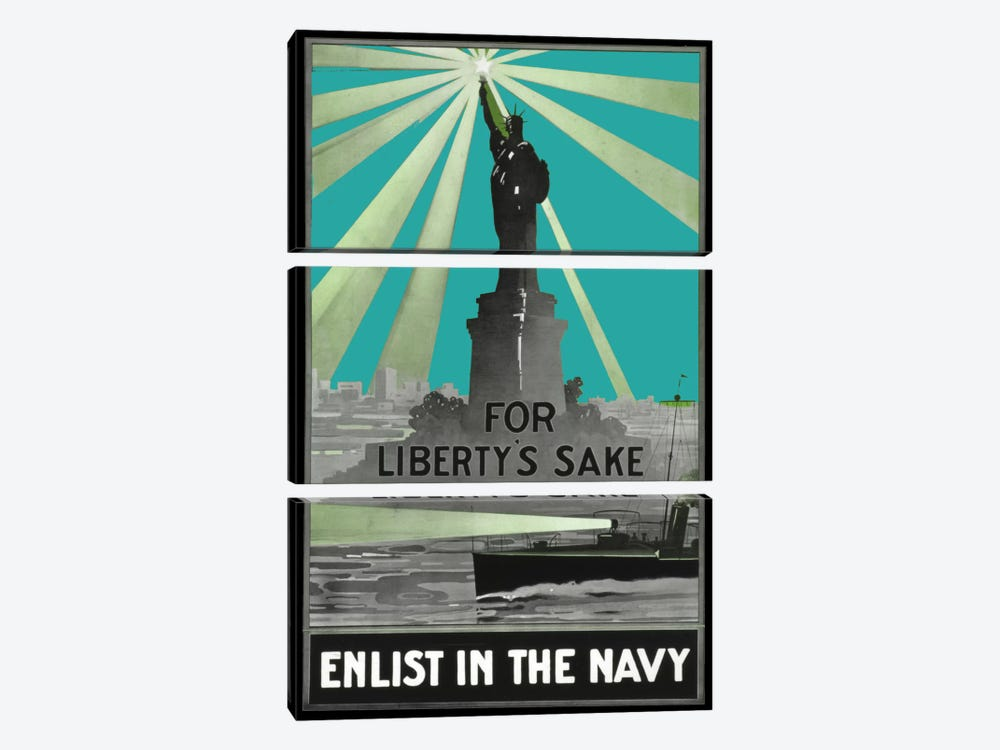 For Libertys Sake by Vintage Apple Collection 3-piece Canvas Print
