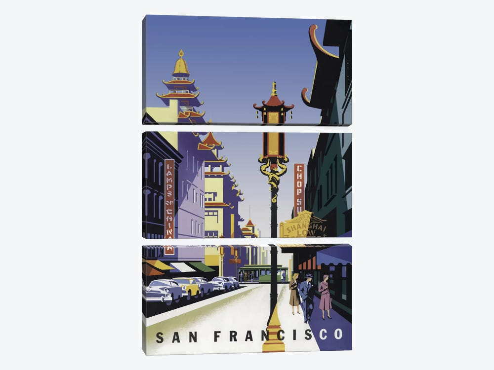 Sanfrancisco Chinatown by Vintage Apple Collection 3-piece Canvas Art