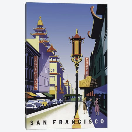 Sanfrancisco Chinatown Canvas Print #VAC485} by Vintage Apple Collection Canvas Art