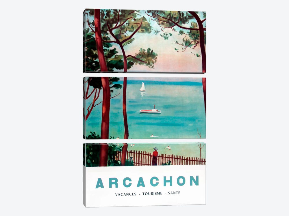 Arachon France by Vintage Apple Collection 3-piece Canvas Art Print
