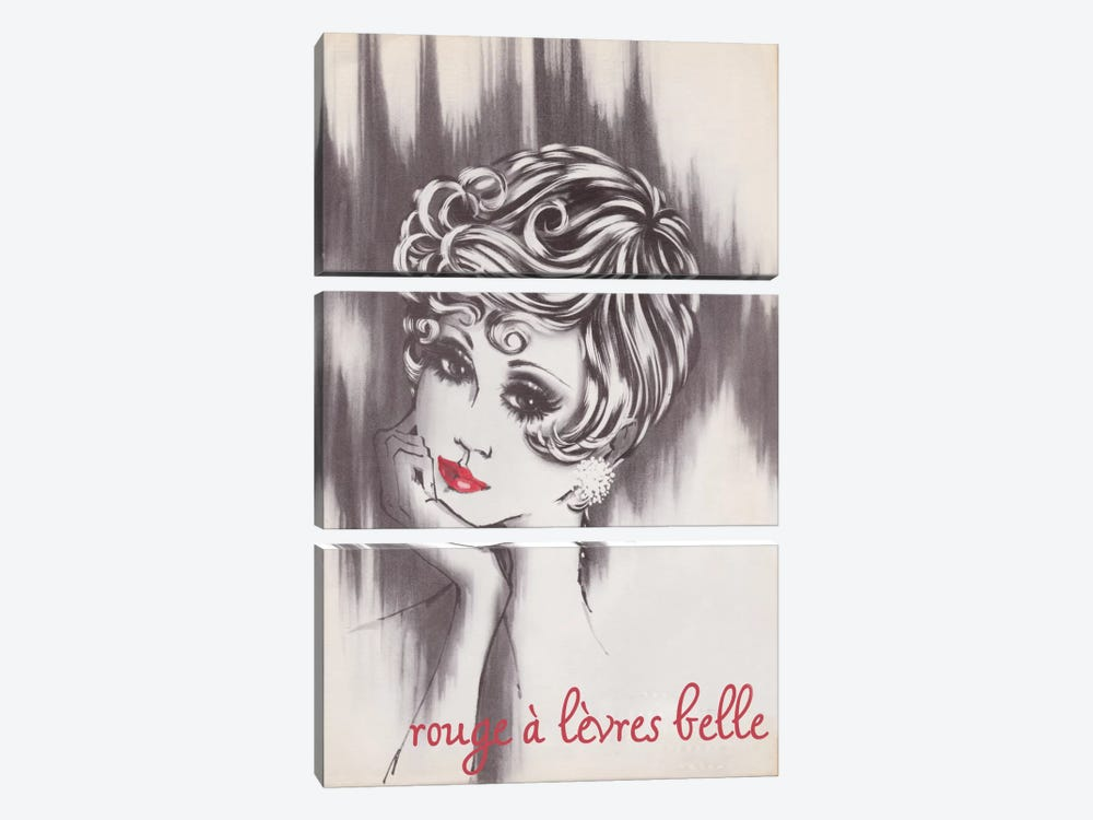 Beautiful Lipstick by Vintage Apple Collection 3-piece Canvas Print