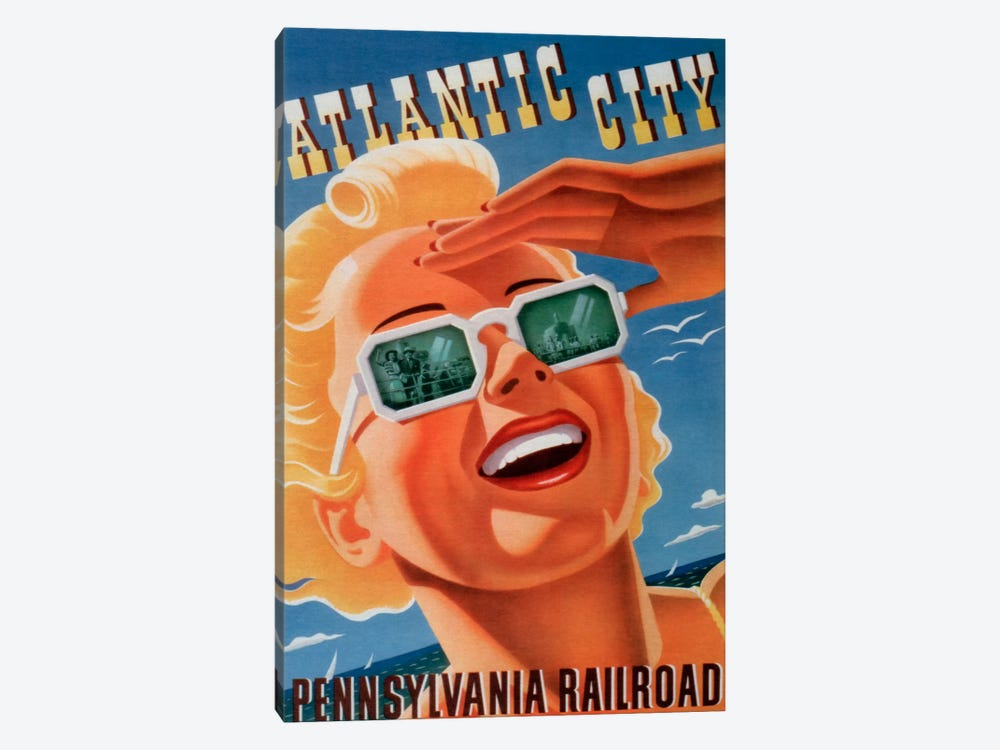 Atlantic City Sunglasses by Vintage Apple Collection 1-piece Canvas Wall Art