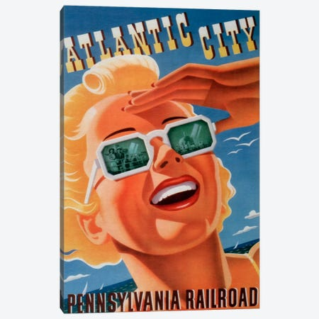 Atlantic City Sunglasses Canvas Print #VAC58} by Vintage Apple Collection Canvas Wall Art
