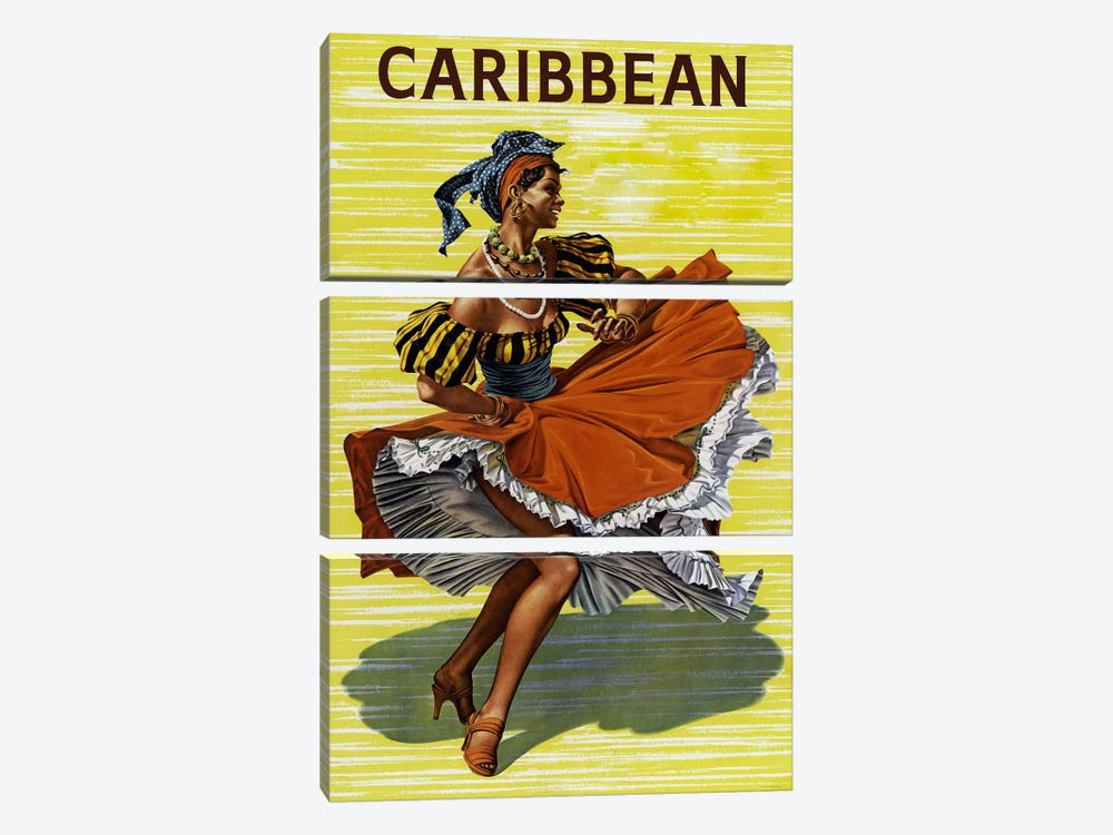 Carribean #2 by Vintage Apple Collection 3-piece Canvas Print