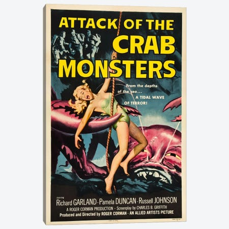 Crab Monsters Canvas Print #VAC705} by Vintage Apple Collection Art Print