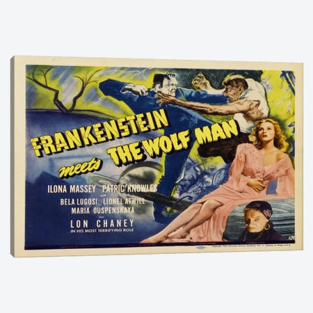 Frankenstein Meets Wolfman Canvas Print #VAC713} by Vintage Apple Collection Art Print