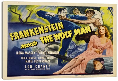 Frankenstein Meets The Wolf Man Canvas Art Print