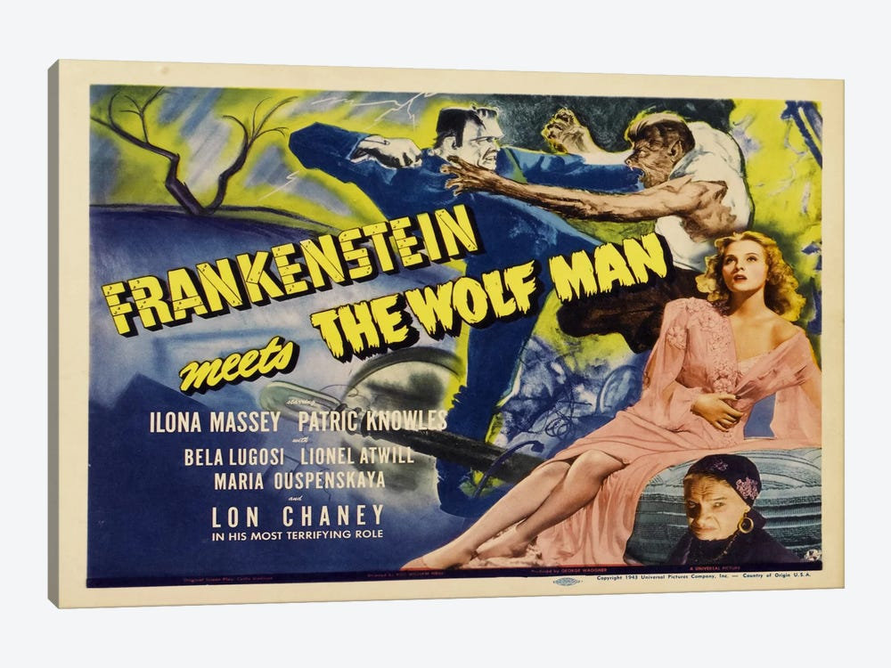 Frankenstein Meets The Wolf Man 1-piece Canvas Art Print