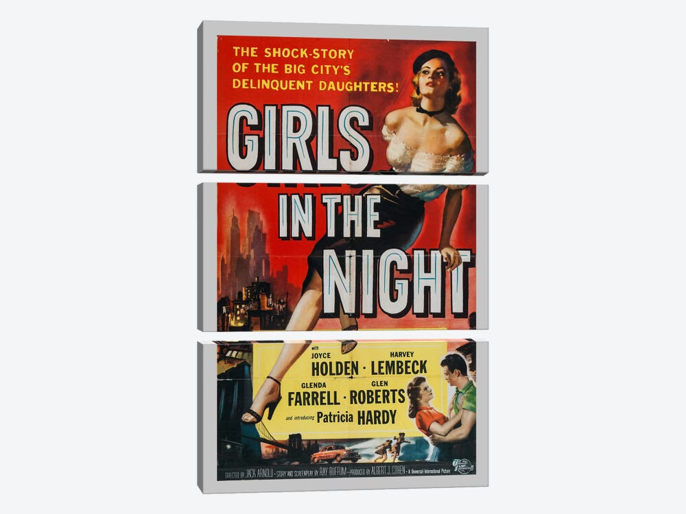 Girls in the Night by Vintage Apple Collection 3-piece Canvas Print