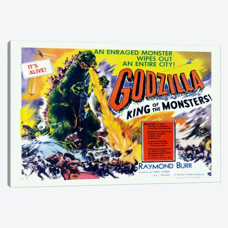 Godzilla Canvas Print #VAC716} by Vintage Apple Collection Canvas Wall Art
