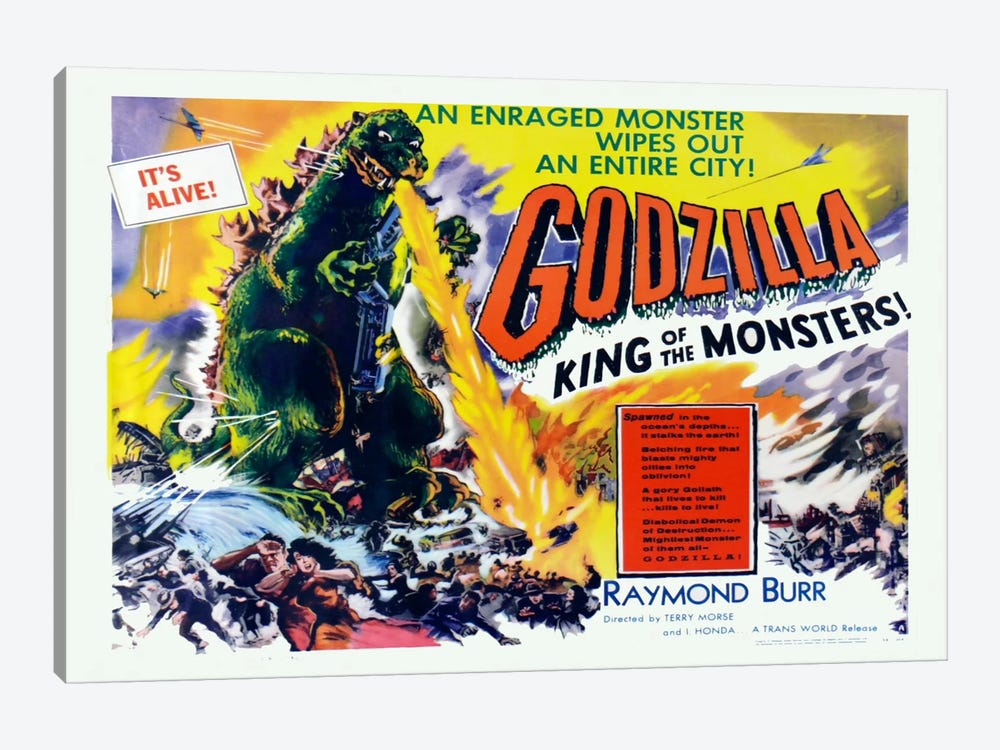 Godzilla by Vintage Apple Collection 1-piece Canvas Art
