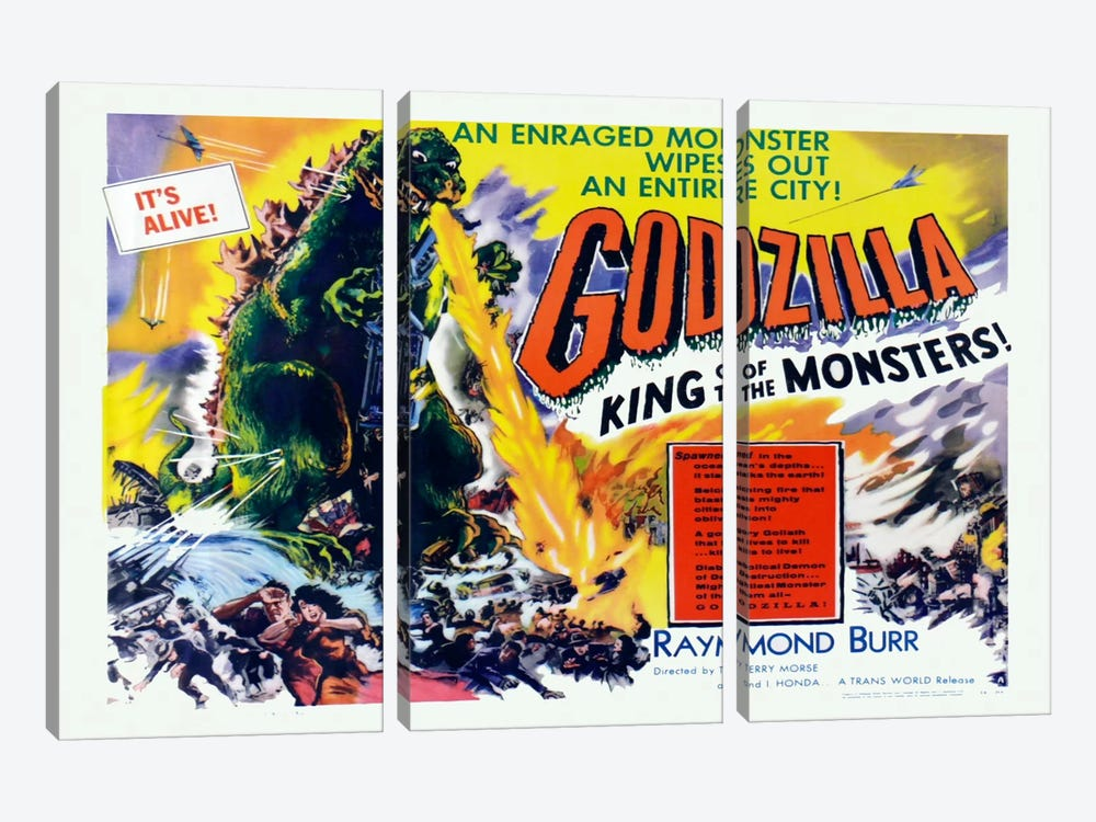Godzilla by Vintage Apple Collection 3-piece Canvas Art