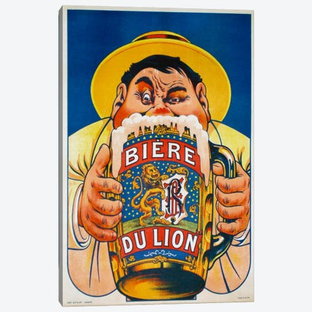 Biere du Lion Canvas Print #VAC746} by Vintage Apple Collection Canvas Art Print
