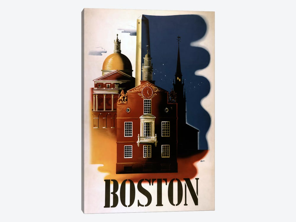 Boston Architecture by Vintage Apple Collection 1-piece Canvas Art