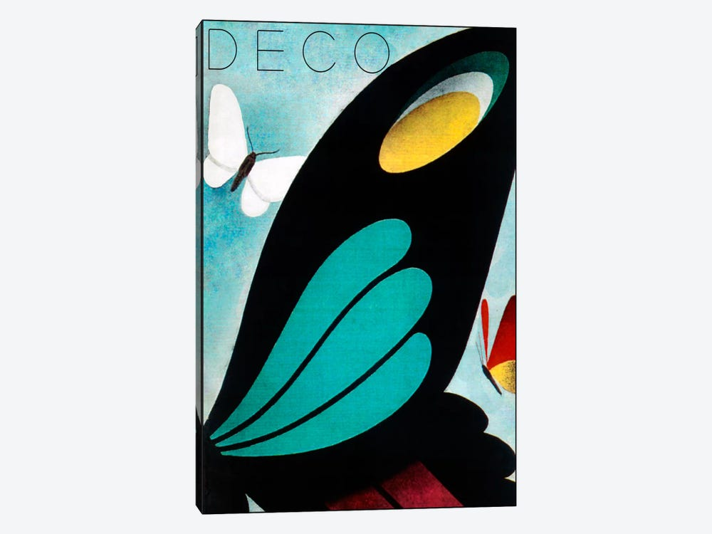 Deco Butterfly by Vintage Apple Collection 1-piece Canvas Art Print